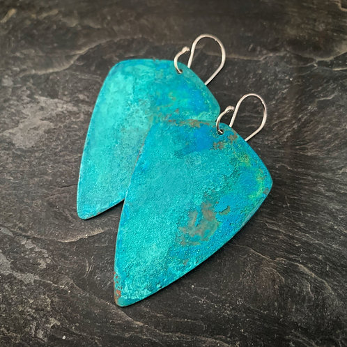 Hammered Copper Verdigris Shields - Made to order