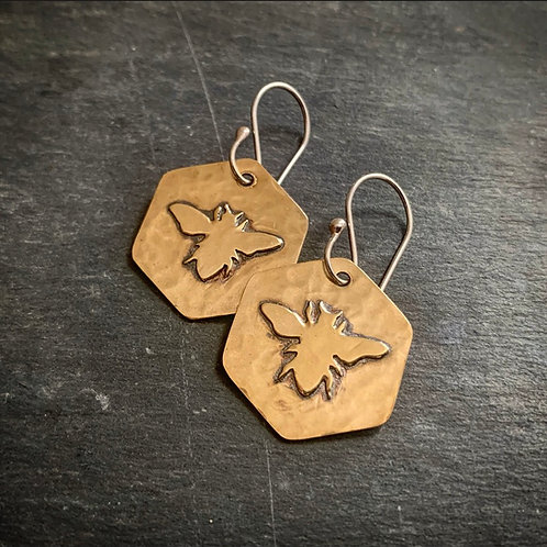 Small Hammered Brass Honeybee Earrings - Made to Order