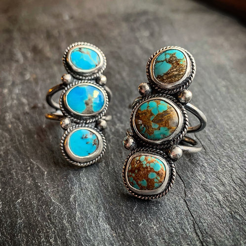 American Turquoise Ring - Wholesale - Design: Three-Stone Pillar