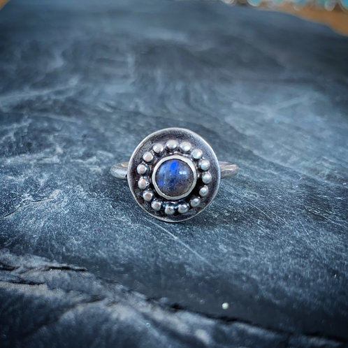 Labradorite Ring with Bead Detail, Size 7, 6mm