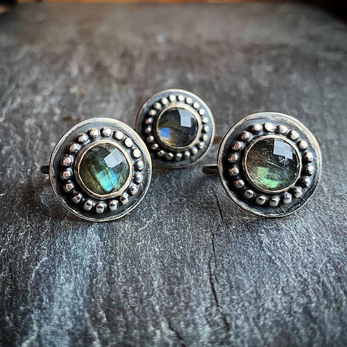 Beaded Faceted Labradorite Ring, 10mm - Wholesale