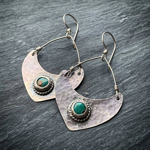 American Turquoise Hammered Silver Points - Wholesale