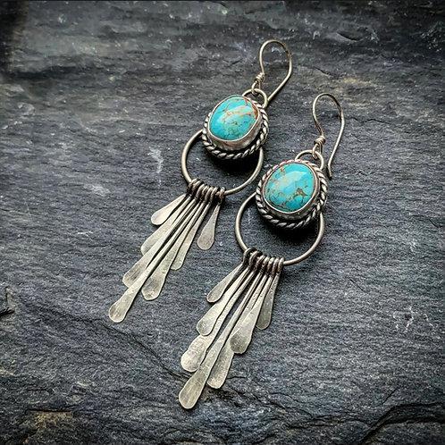 American Turquoise Fringe Earrings
