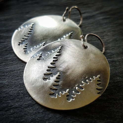 Pine Earrings in Sterling Silver - Round - Made to Order