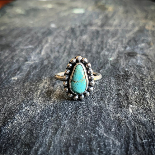 Small American Turquoise Ring with Bead Detail, Size 6