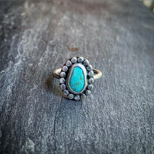 Small American Turquoise Ring with Bead Detail, Size 7