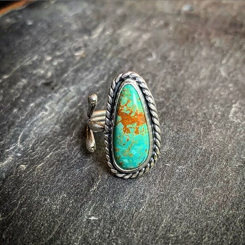 American Turquoise Ring with Open Shank, size 8
