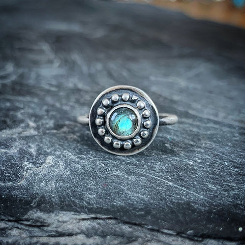 Labradorite Ring with Bead Detail, Size 7.5, 6mm