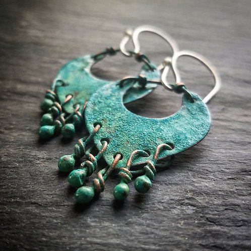 Small Liberty Earrings in Patinated Copper - Wholesale