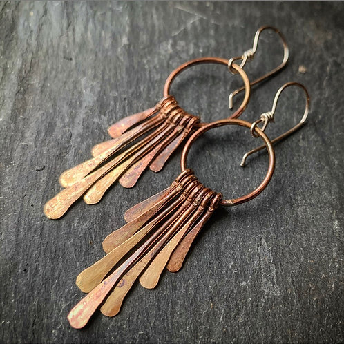 Small Brass Fringe Earrings - Made to order