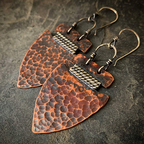 Hammered Copper Arrowhead Earrings - Large