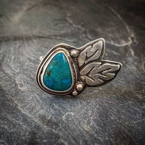 American Turquoise Ring with Hand-sawn Leaf Detail, size 8