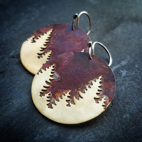 Pine Earrings in Brass - Round - Made to Order