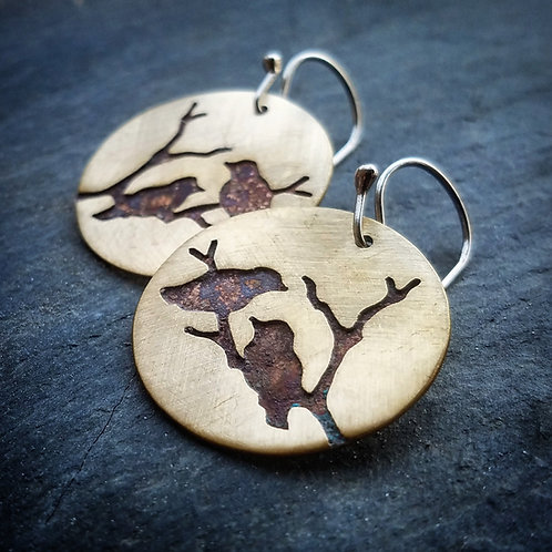 Paired Raven Earrings in Brass - Made to Order