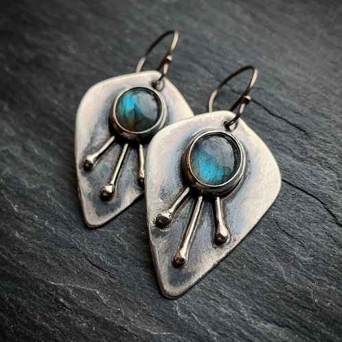 Labradorite 3-Ray Sunburst Earrings