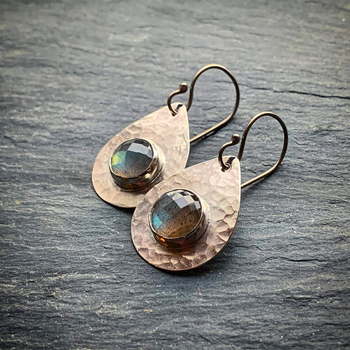 Faceted Labradorite Teardrop Earrings