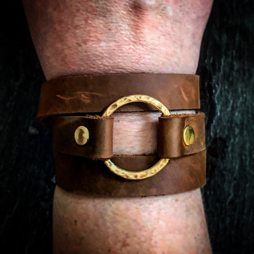 Brown Leather witih Brass Wrap Bracelet - Wholesale