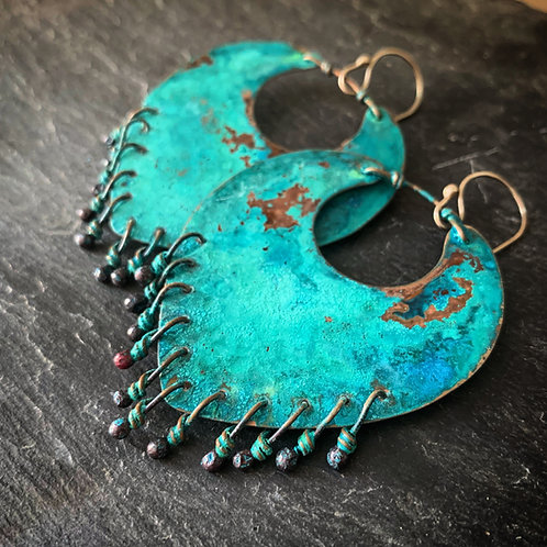Liberty Earrings in Patinated Copper