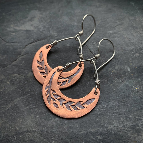 Copper Crescent Wheat Earrings - Small - Made to Order