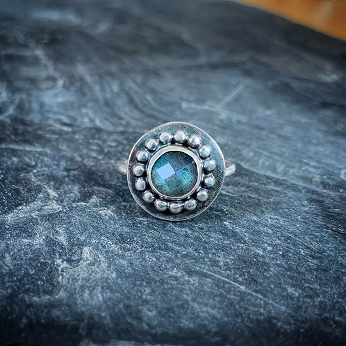 Faceted Labradorite Ring with Bead Detail, Size 7.5, 8mm