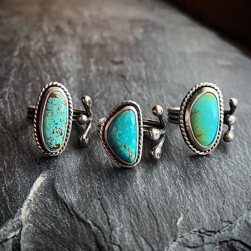 American Turquoise Ring - Wholesale - Design: Rope & Open Shank