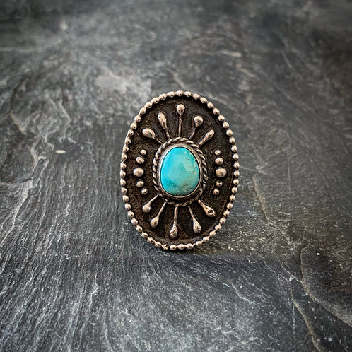 Oval Silverwork Ring with American Turquoise, size 8