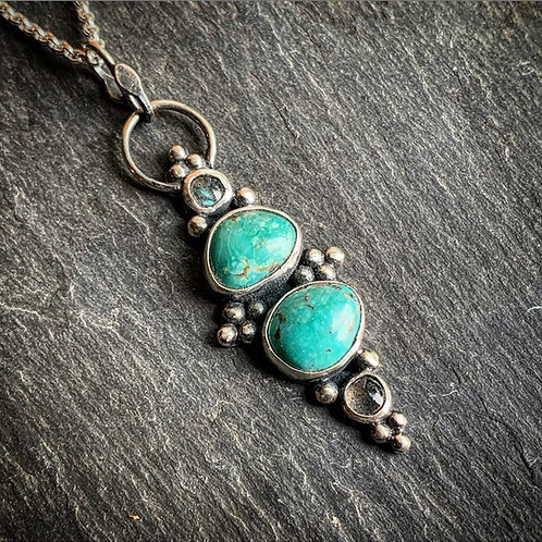 Cindy's Pendant with American Turquoise & Labradorite