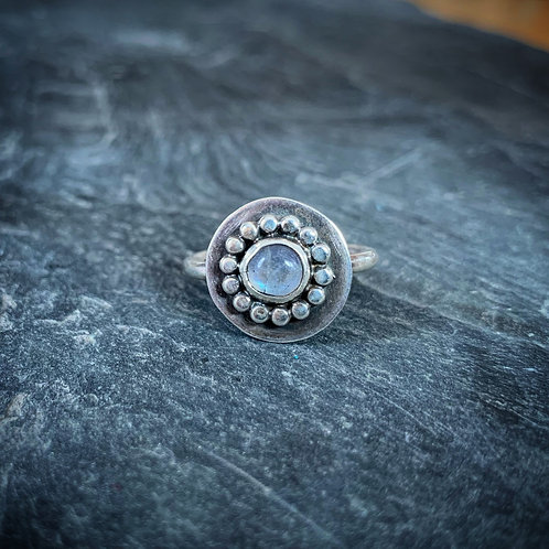 Rainbow Moonstone Ring with Bead Detail, Size 6, 6mm