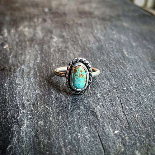 Small American Turquoise Ring with Rope Border, Size 6.5
