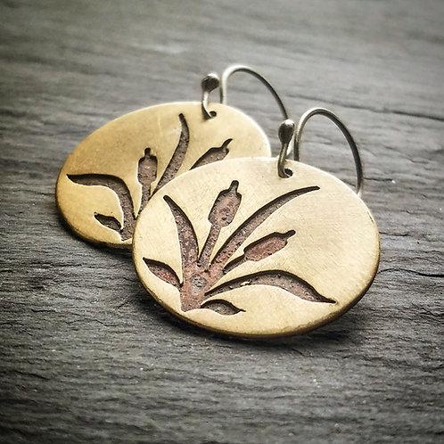 Cattail Earrings in Brass - Wholesale