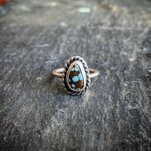 Small American Turquoise Ring with Rope Border, Size 6