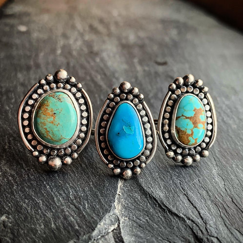 American Turquoise Ring - Wholesale - Design: Beading with Polar Beading