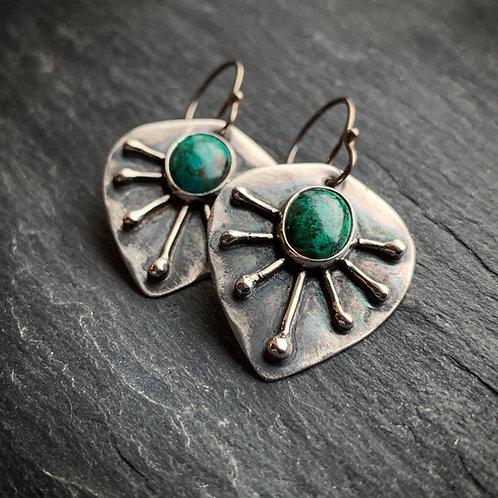 Chrysocolla 7-Ray Sunburst Earrings - Wholesale