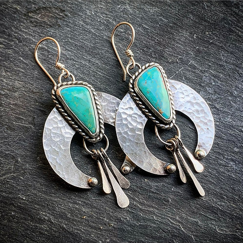 American Turquoise Squash Blossom Earrings