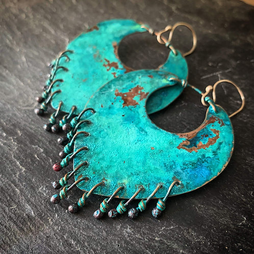 Liberty Earrings in Patinated Copper - Wholesale