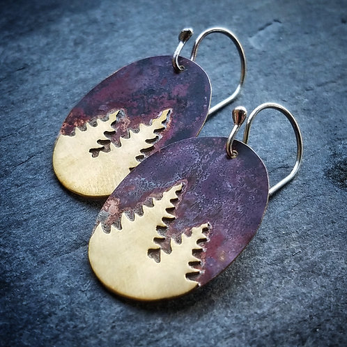Pine Earrings in Brass - Oval - Wholesale