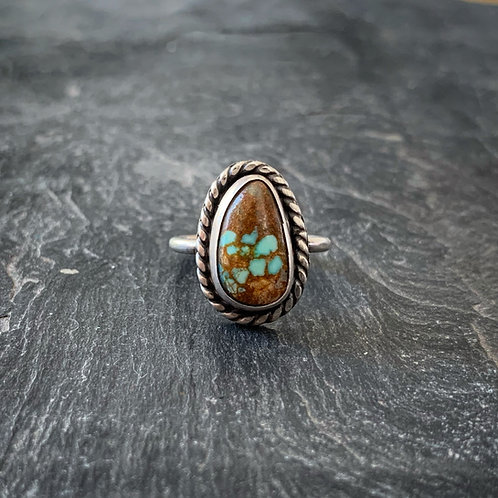 American Turquoise Ring with Rope Border, Size 6.5