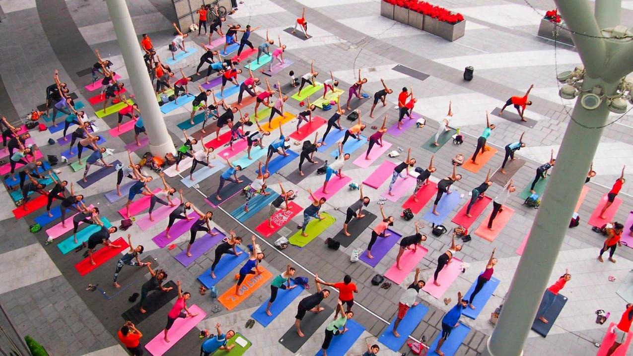 Platinum Yoga's annual outdoor yoga event at Suntec City