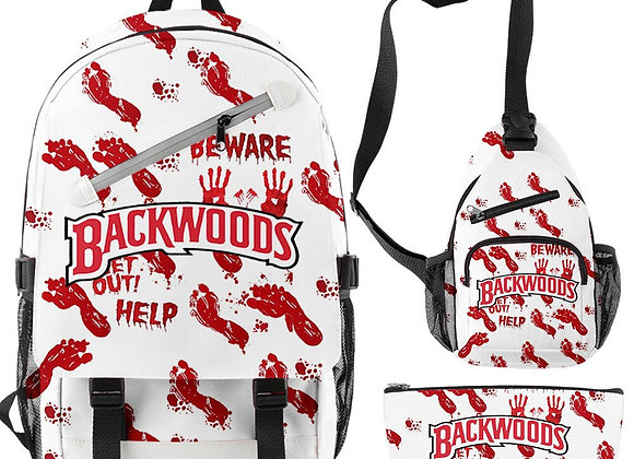 Blood footprints and whit bag pack