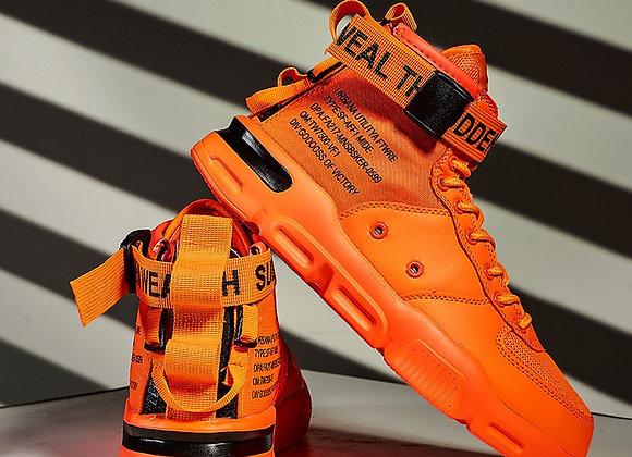 Sooneeya Men's Vulcanized Shoes Sneakers Printed Shoes Buckle Casual Men's Boots