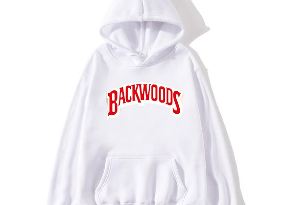White and red backwoods hoodie
