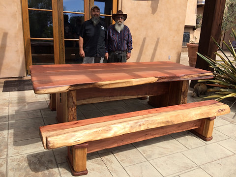 Fabulous Custom Redwood Slab Table And Benches Bralicious Painted Fabric Chair Ideas Braliciousco