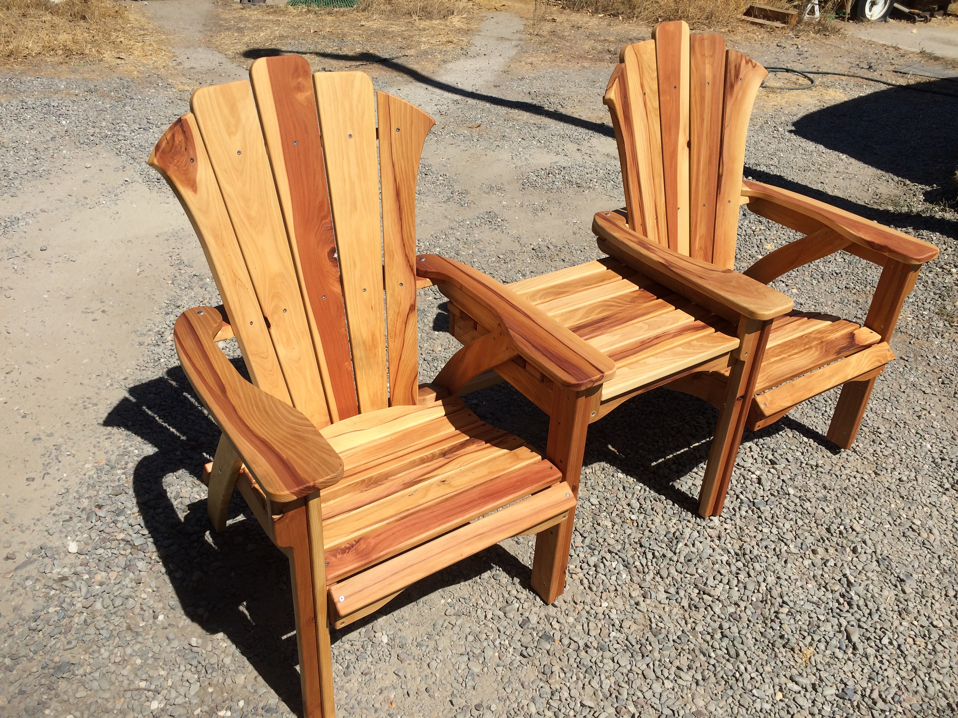 Superb California Redwood Adirondack Side By Side Chairs With Stainless Steel  Hardware. These Adirondack Chairs Have A Table Attached In The Middle And  Are Very ...