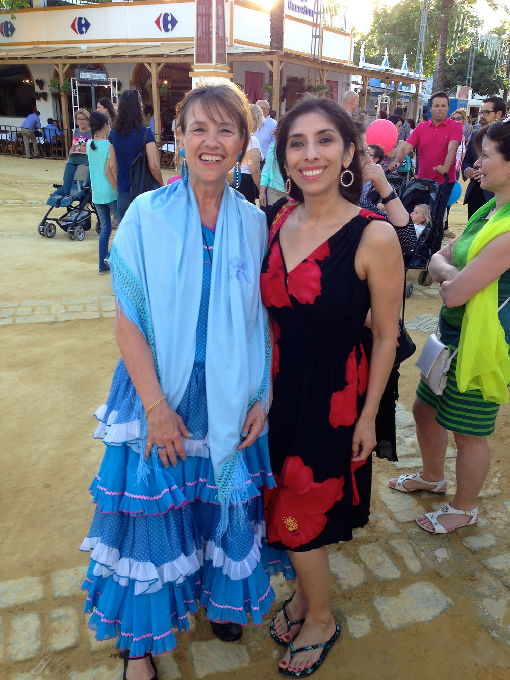 With Josie, who packed along her own Sevillana dress for the festivities.
