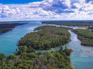 Aerial Voyageur Island Woods
