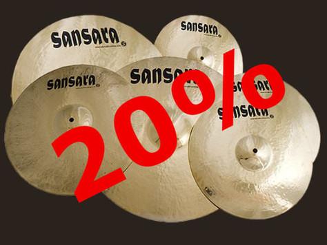 20% auf alle Sansara Cymbals der Brilliant Serie. Gültig bis 04.04.2021. Rabattcode: Brilliant20