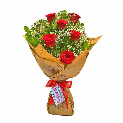 Ramalhete com 6 Rosas Vermelhas