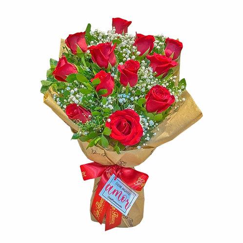 Ramalhete com 12 Rosas Vermelhas
