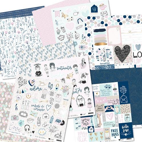 Kit de Papéis Coleção Coisas do Coração
