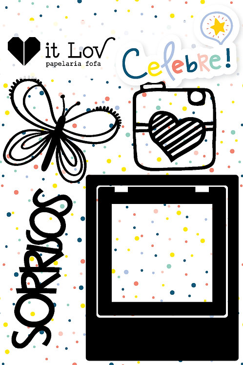 "Cartela Chipboard ""Sorrisos"""